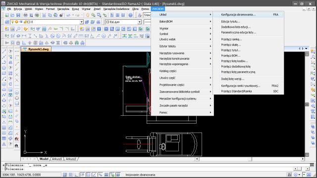 ZWCAD Mechanical polecenie do konfiguracji formatki