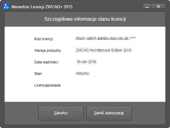 menu Lic zwcad
