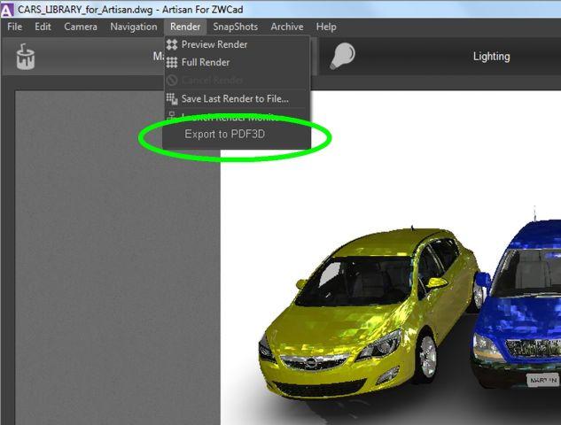 ARTISAN PDF3D export