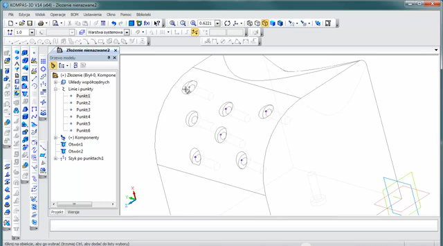 KOMPAS 3D V14 nowe narzędzie do wstawiania otworów.
